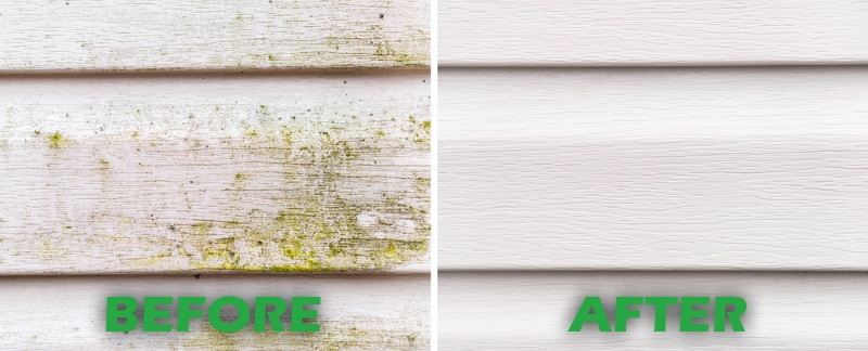 before and after photos of the same house that was pressure washed
