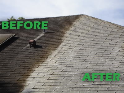 before and after image for roof cleaning