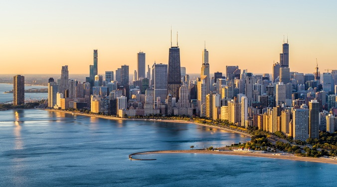 photo from the air of ChiTown