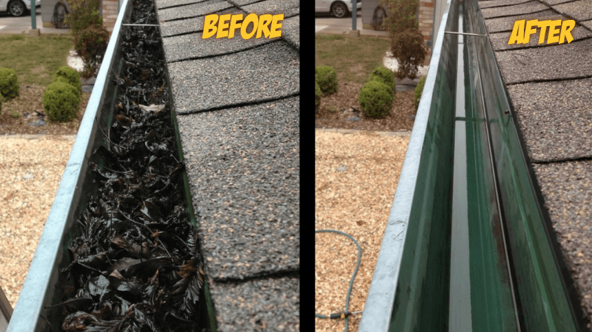 picture of gutter before cleaning and after